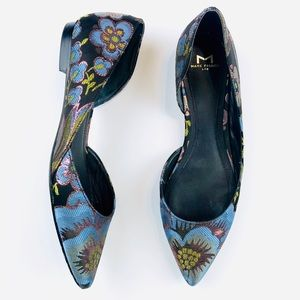 Marc Fisher floral embroidered pointed flats